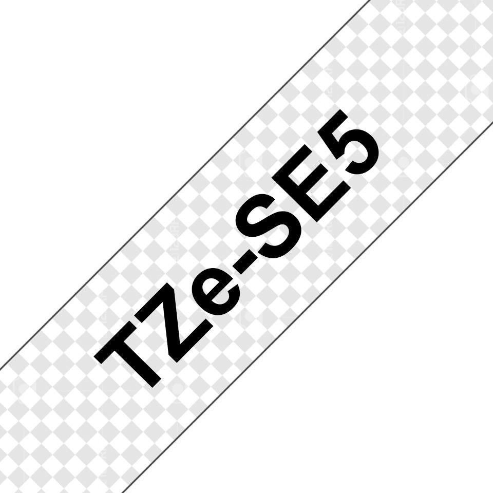 Brother TZe-SE5 sikkerhedstape, 24mm, sort på hvid