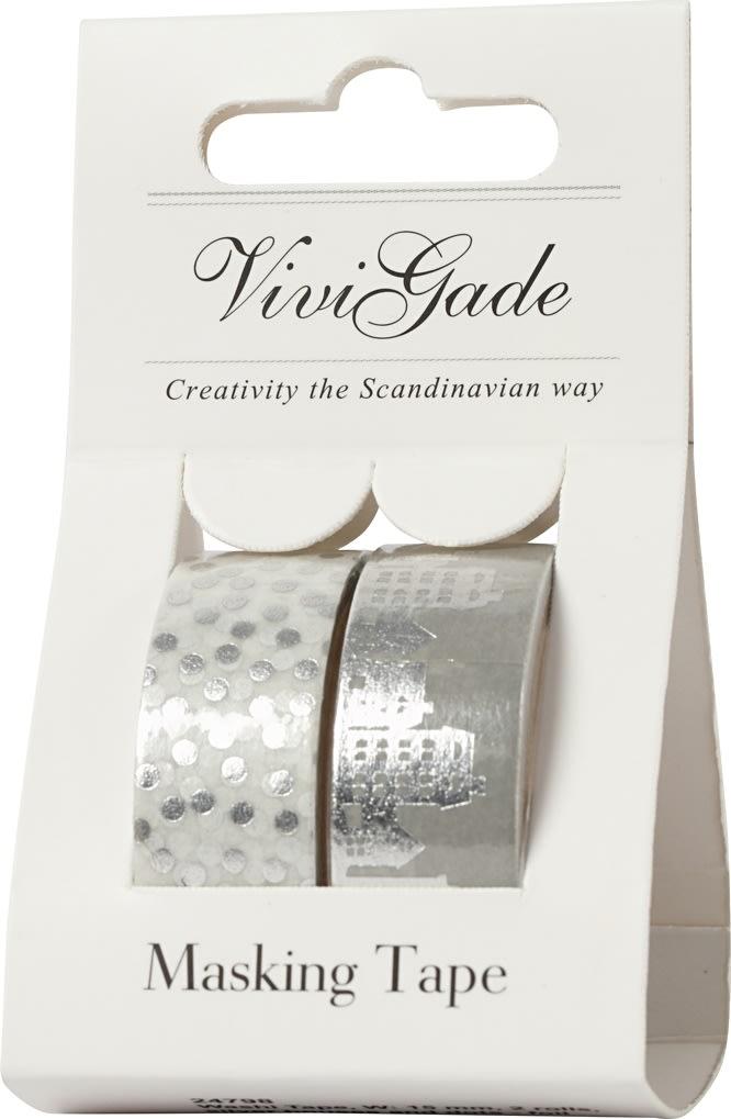 Vivi Gade Maskingtape, 15mm, 2 rl, huse/prikker