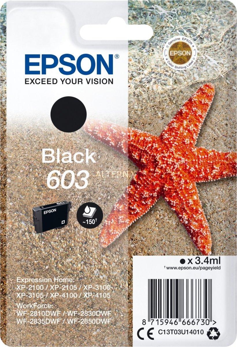 Epson 603 blækpatron, sort, blister, 3.4ml