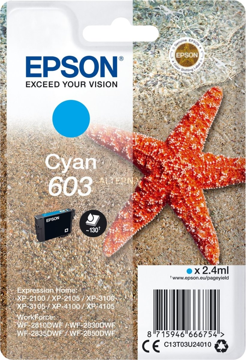 Epson 603 blækpatron, cyan, blister m/alarm