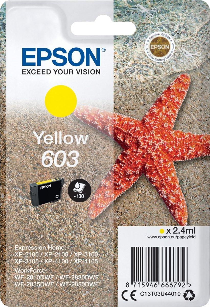 Epson 603 blækpatron, gul, blister m/alarm