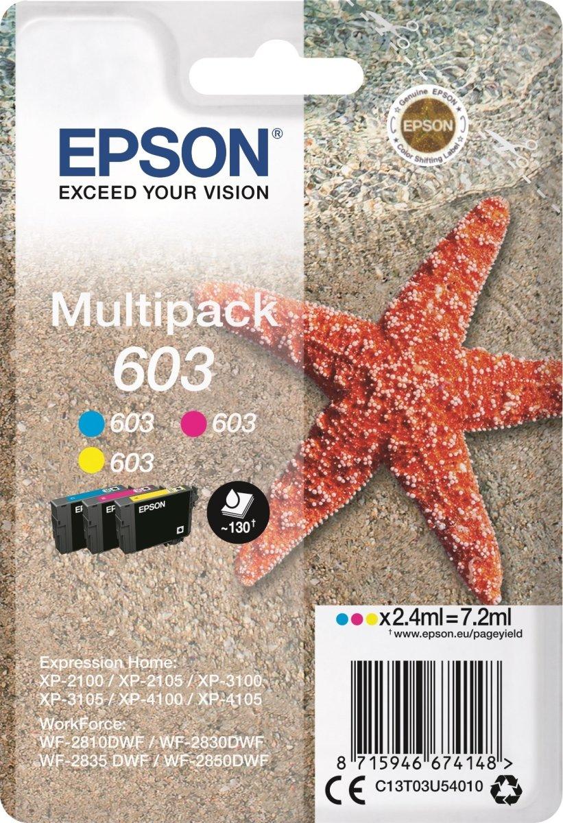 Epson 603 3-farve sampak blækpatroner, m/alarm