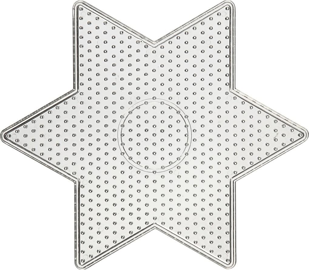 Perleplade, 15x15 cm, stor stjerne, 10 stk