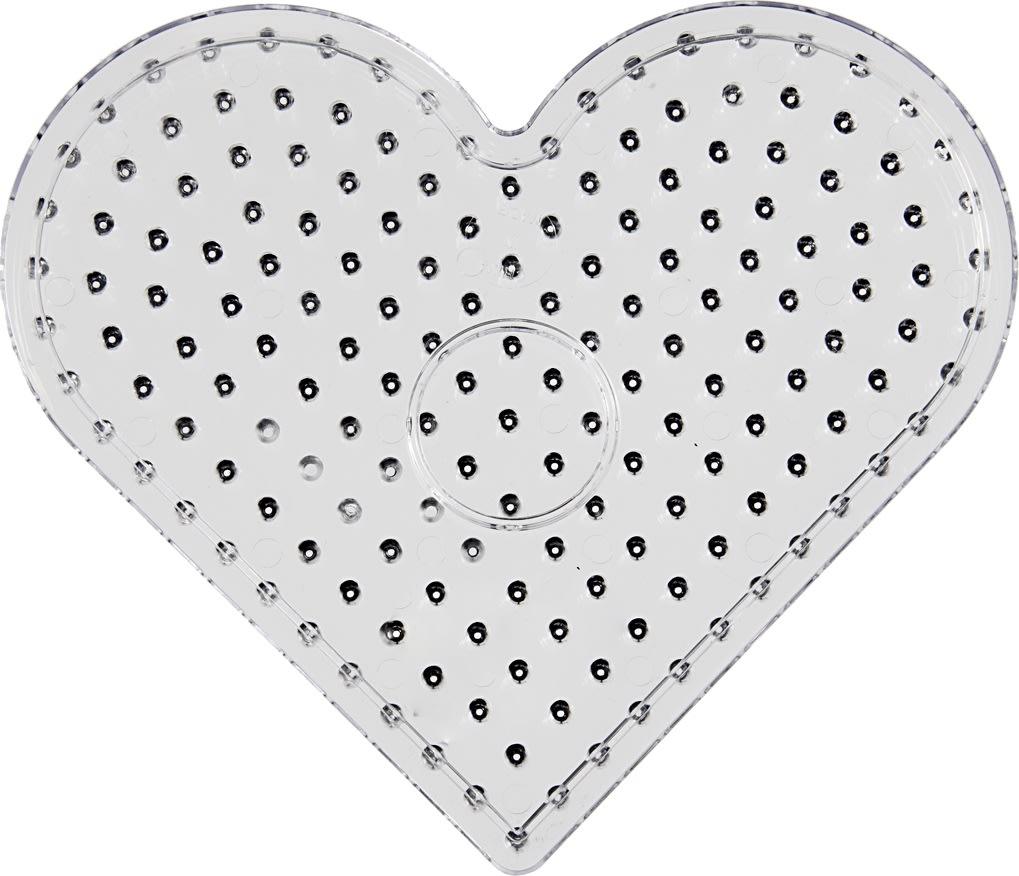 Jumbo Perleplade, 17 cm, hjerte, 5 stk
