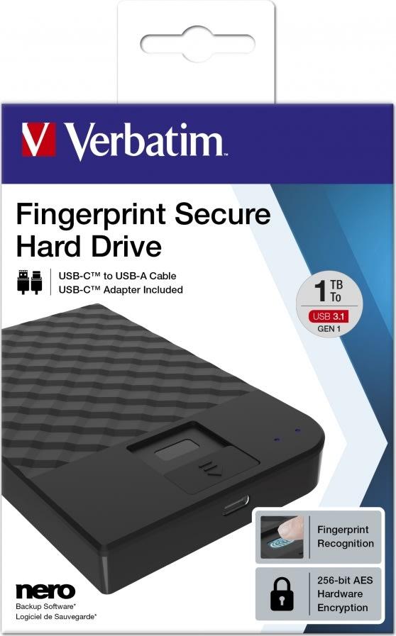 Verbatim USB 3.1 ekstern harddisk, 1 TB, sort