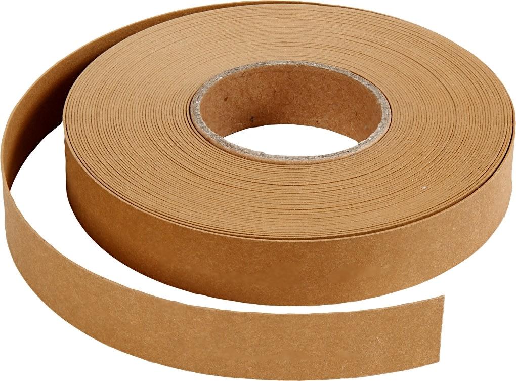 Flettestrimler i læderpapir, 15mm x 9,5m, lys brun