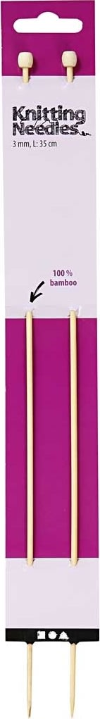 Strikkepinde, nr. 3, L: 35 cm, bambus