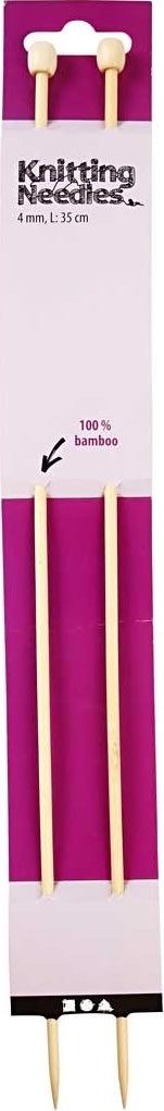 Strikkepinde, nr. 4, L: 35 cm, bambus