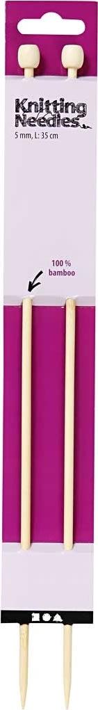 Strikkepinde, nr. 5, L: 35 cm, bambus