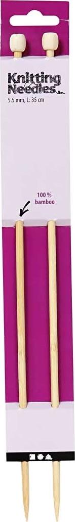 Strikkepinde, nr. 5,5, L: 35 cm, bambus