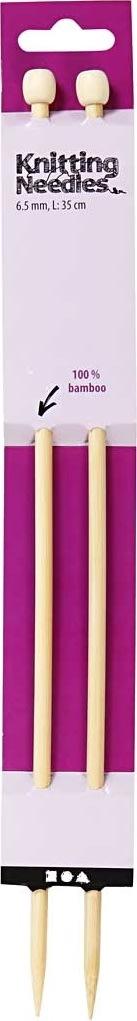 Strikkepinde, nr. 6,5, L: 35 cm, bambus