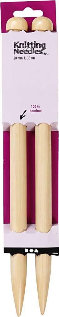 Strikkepinde, nr. 20, L: 35 cm, bambus