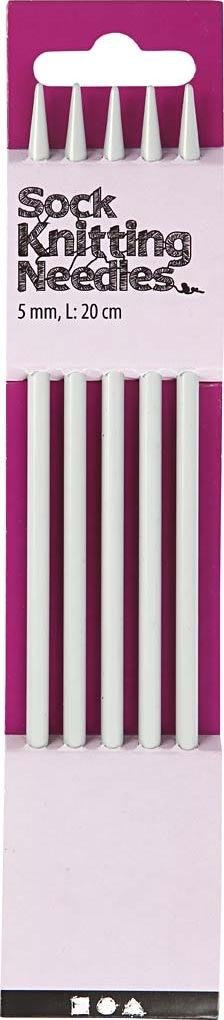 Strømpepinde, nr. 5, L: 20 cm, metal, 5 stk