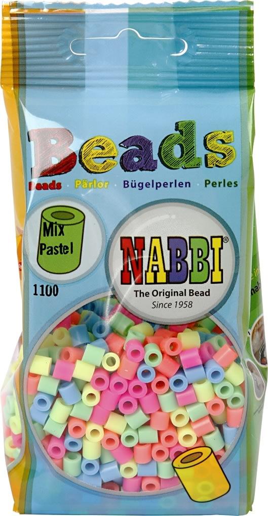 Nabbi Rørperler, 1100 stk, pastelfarver