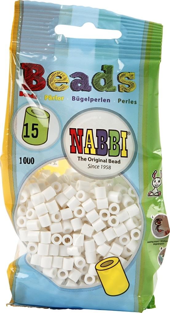 Nabbi Rørperler, 1100 stk, hvid (15)