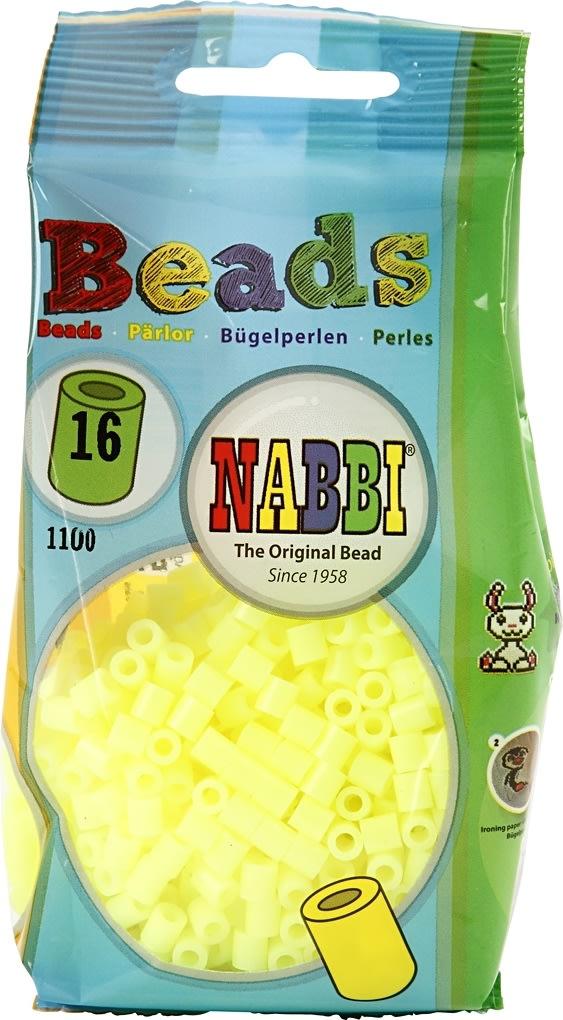 Nabbi Rørperler, 1100 stk, gul pastel (16)