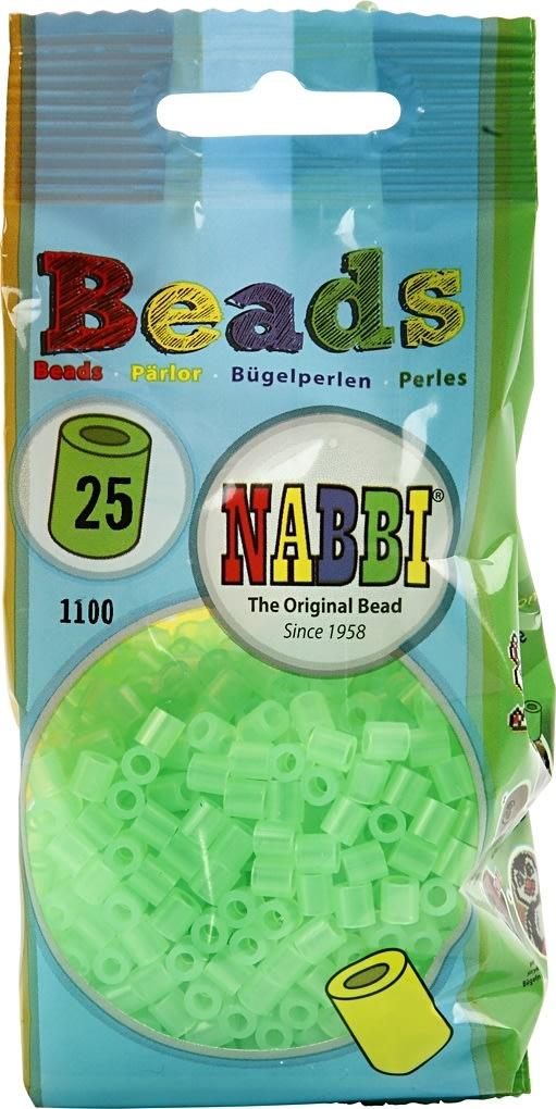 Nabbi Rørperler, 1100 stk, neongrøn (25)