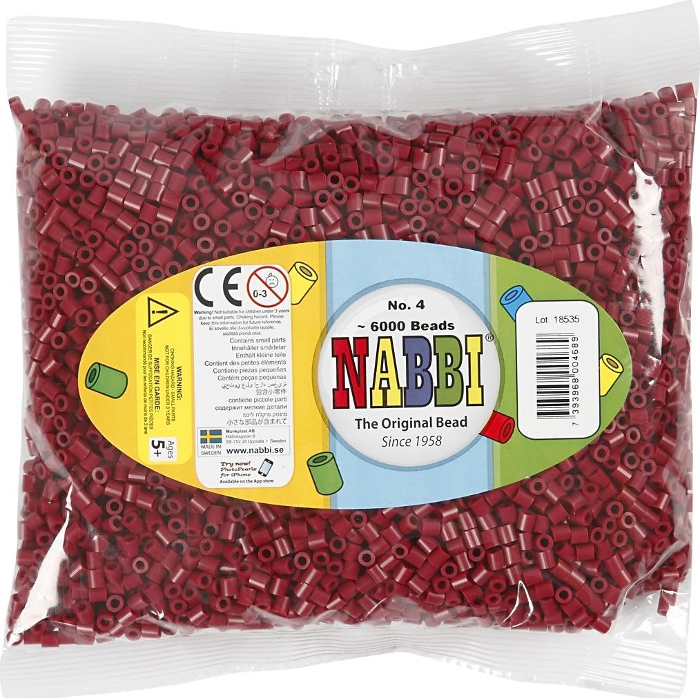 Nabbi Rørperler, 6000 stk, vinrød (4)