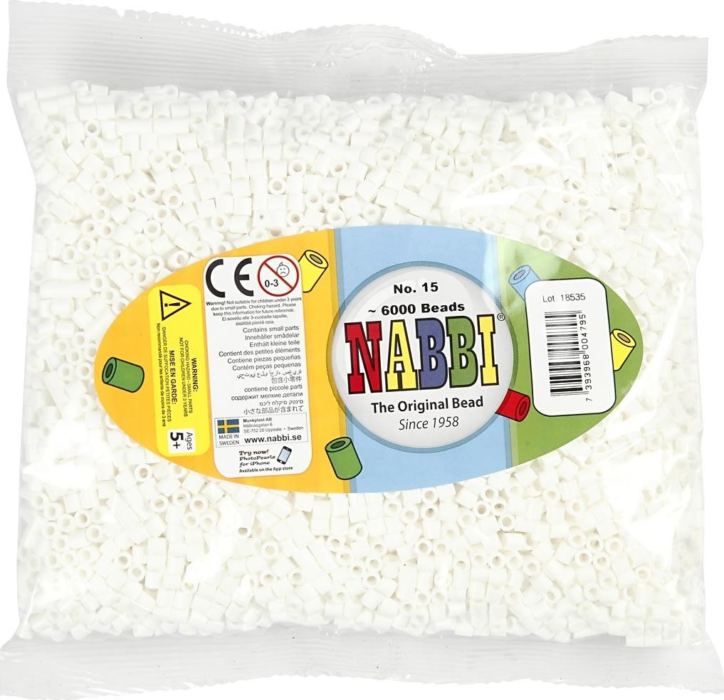 Nabbi Rørperler, 6000 stk, hvid (15)