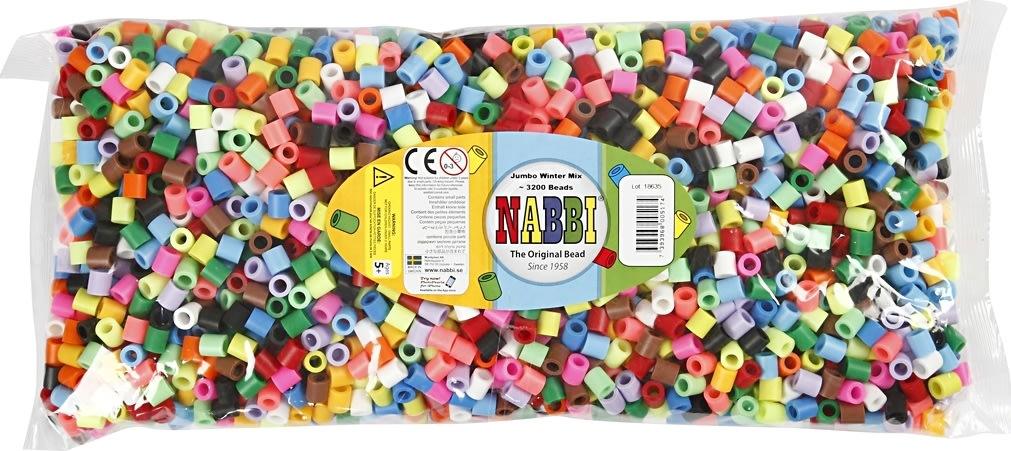 Nabbi Jumbo Rørperler, 3200 stk, suppleringsfarver