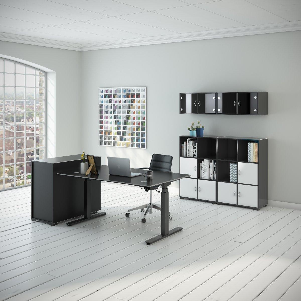 Cube Design Flow hæve/sænkebord, 160x80, alu/sort