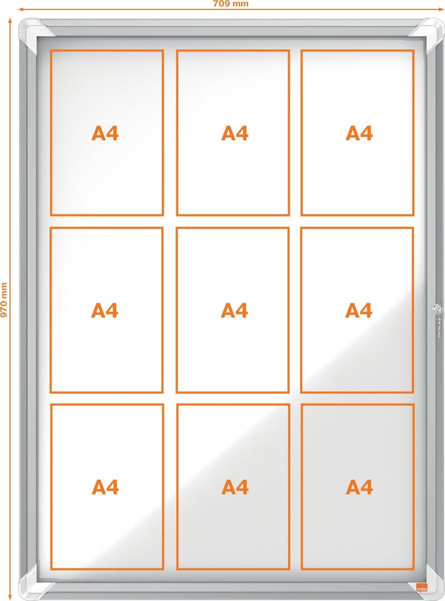Nobo opslagsskab til 9 A4 ark (100x75) indendørs