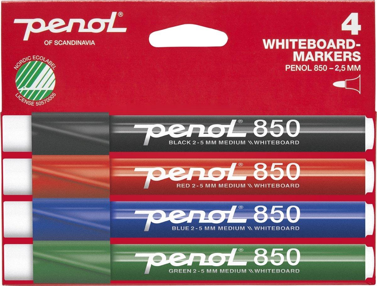 Penol 850 Whiteboardmarker sæt m. 4 stk.