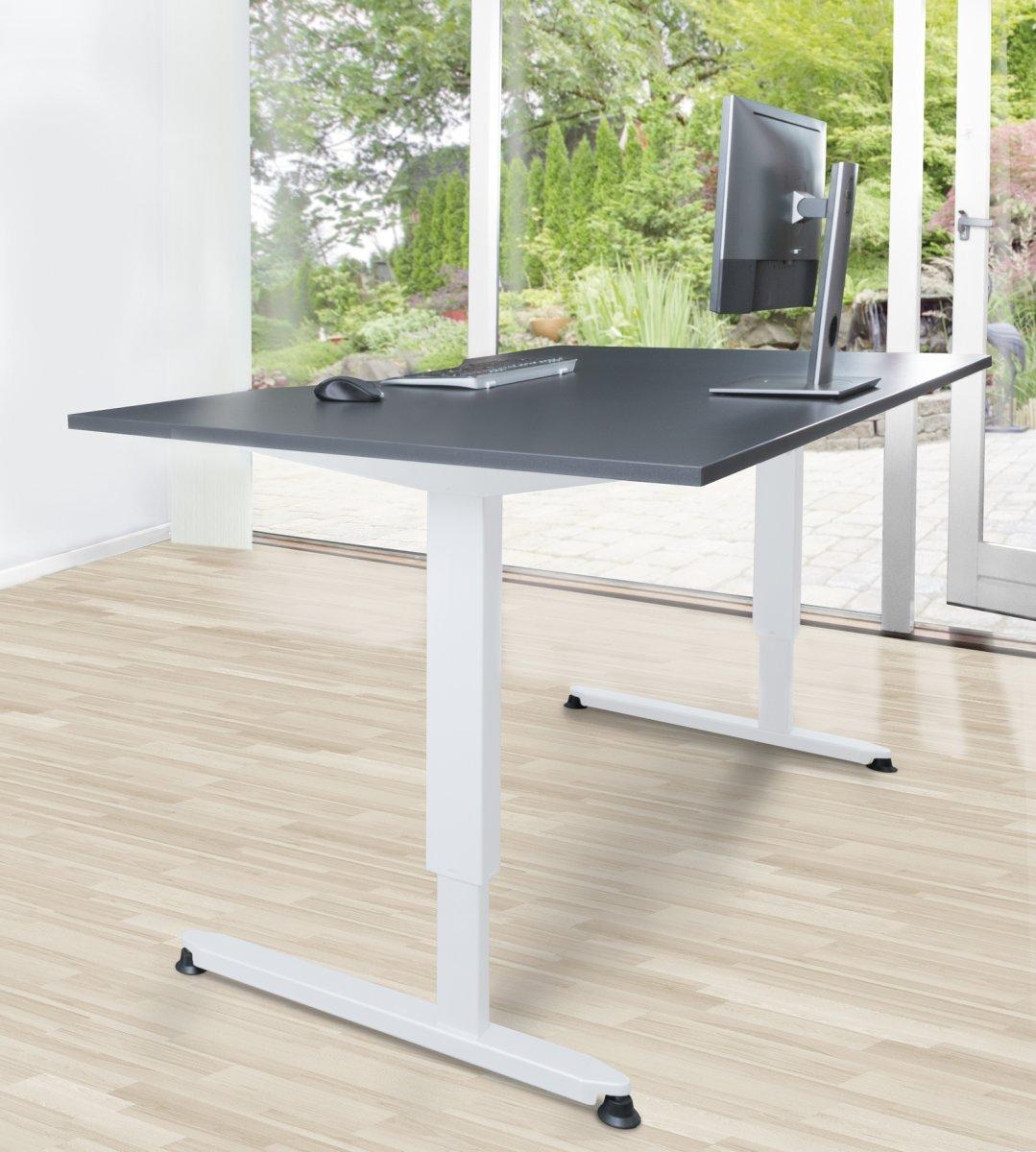 Stay hæve/sænkebord, 180x90 cm, grå/hvid