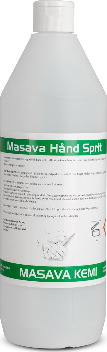 Masava Håndsprit Gel 80 % hånddesinfektion, 1 L