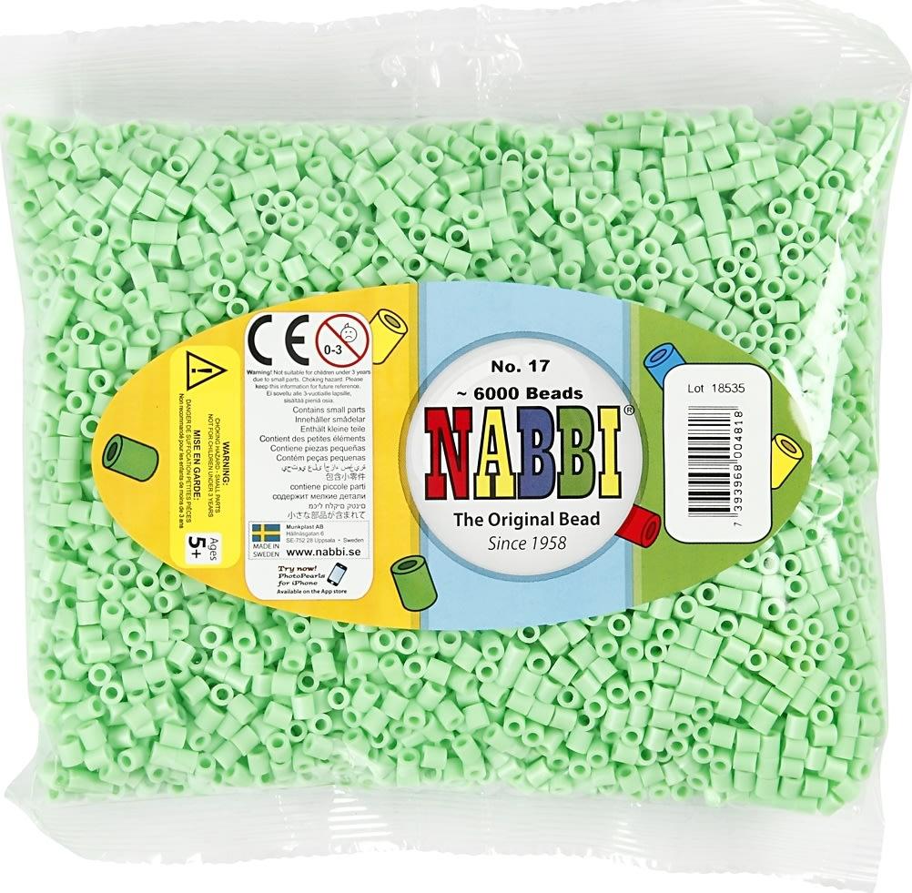 Nabbi Rørperler, 6000 stk, grøn pastel (17)
