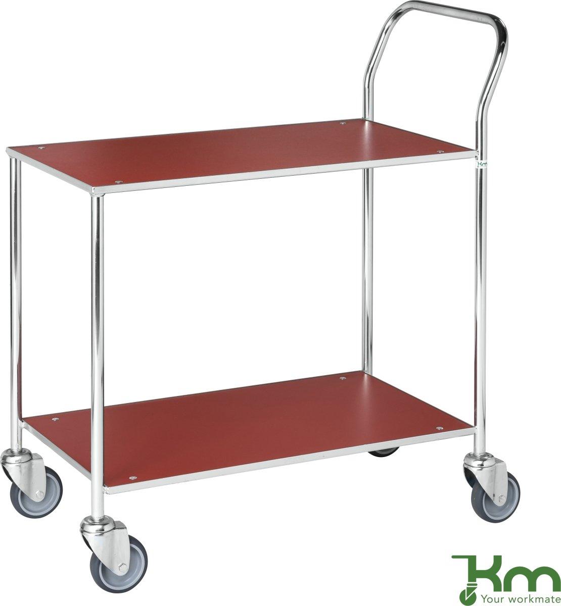 Rullebord - 2 hylder, 840x430x970, Galvanis/Rød