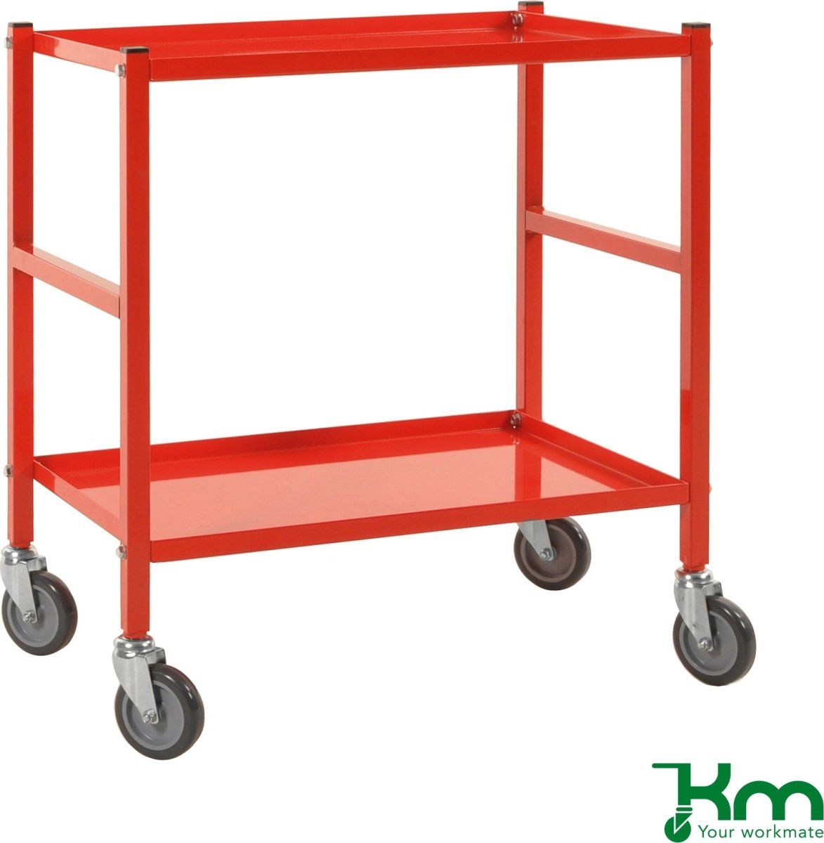 Rullevogn, 2 hylder, 670x415x760, 150 kg, Rød