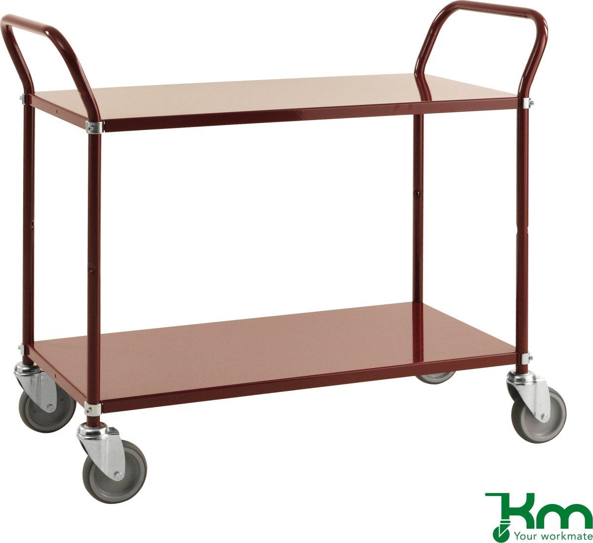 Rullebord 2 hylder, 1070x450x940, 250 kg, Vinrød