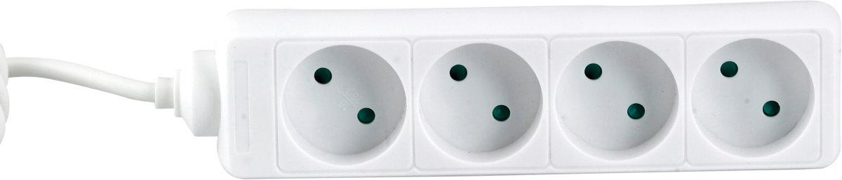 Stikdåse, 4 udtag, hvid