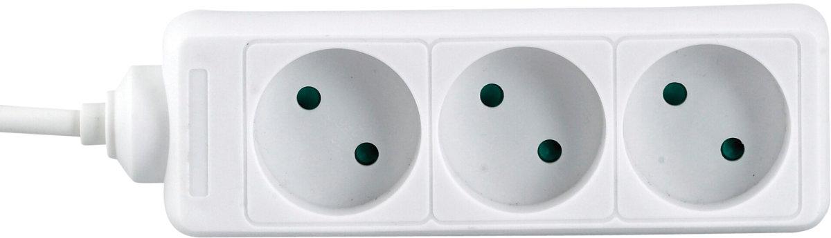 Stikdåse, 3 udtag, hvid
