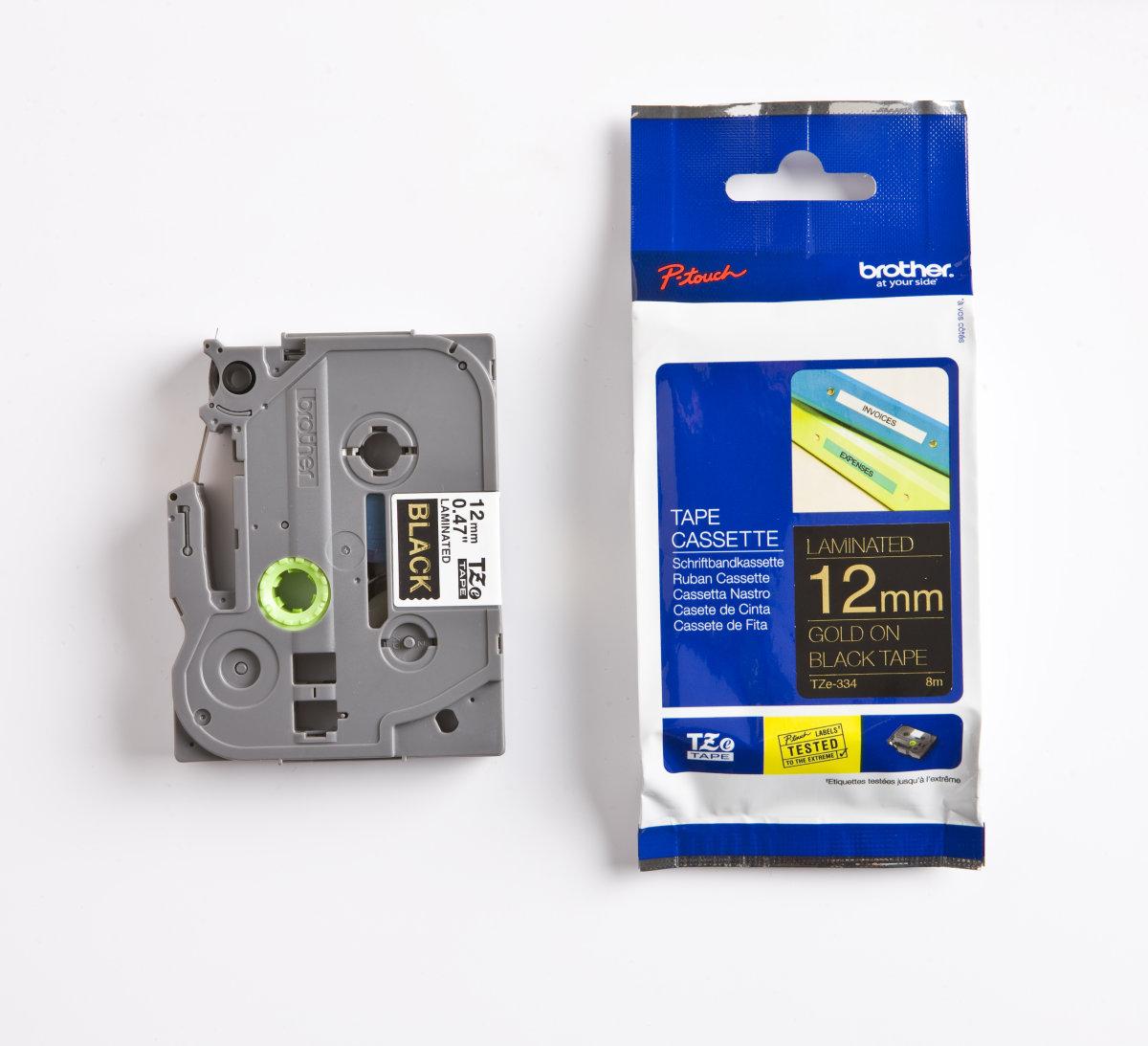 Brother TZe-334 labeltape 12mm, guld på sort