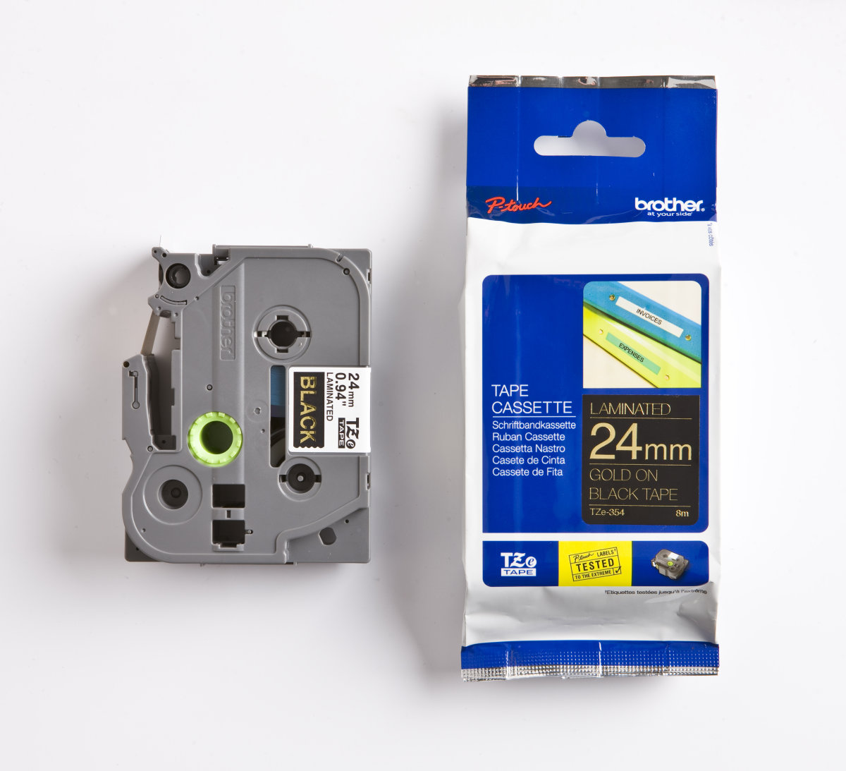 Brother TZe-354 labeltape 24mm, guld på sort