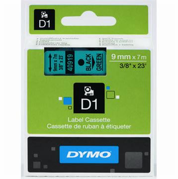 Dymo D1 labeltape 9mm, sort på grøn