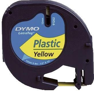 Dymo Letratag labeltape 12mm, sort på grøn