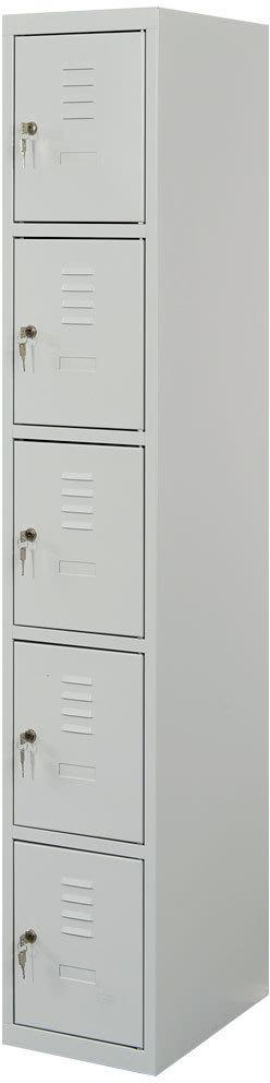 Proff garderobeskab,1x5 rum,Plan,Cylinderlås,Grå