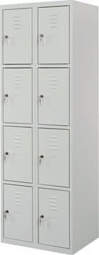 Proff garderobeskab,2x4 rum,Plan,Cylinderlås,Grå