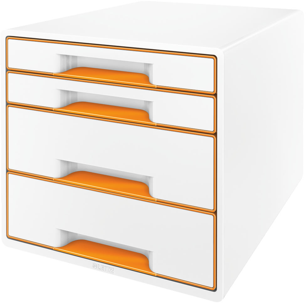 Leitz WOW CUBE skuffekabinet, 4 skuffer, orange