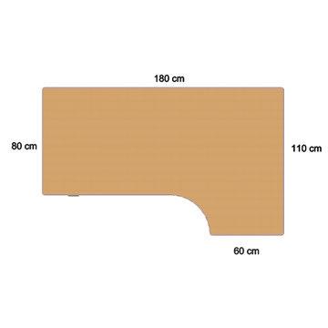 Fly hæve/sænkebord 180 cm højre bøg 72-118 cm
