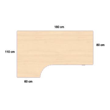 Fly hævesænkebord 180 cm venstre ahorn 72-118 cm