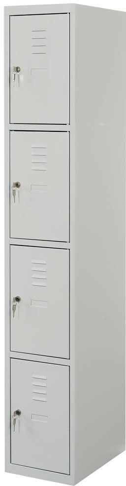 Proff garderobeskab,1x4 rum,Plan,Cylinderlås,Grå