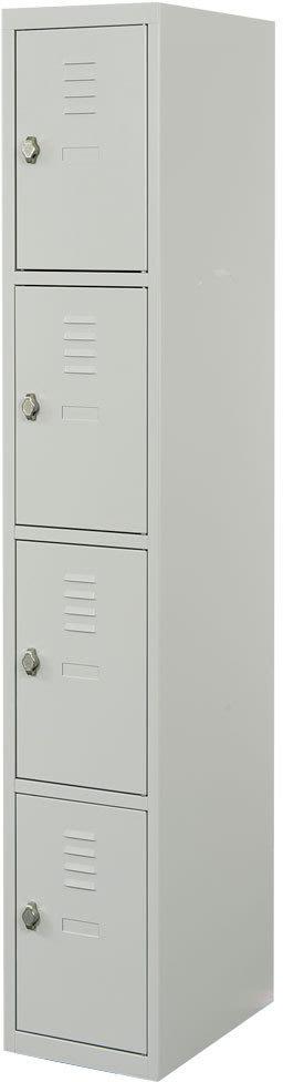 Proff garderobeskab,1x4 rum,Plan,Hængelås,Grå
