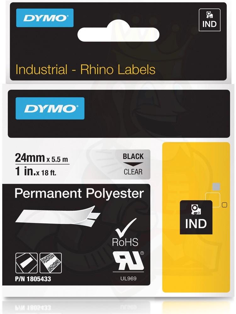 Dymo RHINO Permanent Polyester 19mm, sort på metal