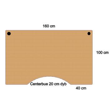 Flexo hæve/sænkebord 160 cm m/centerbue bøg