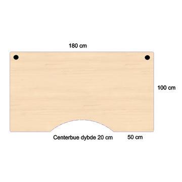 Flexo hæve/sænkebord 180cm m/centerbue ahorn