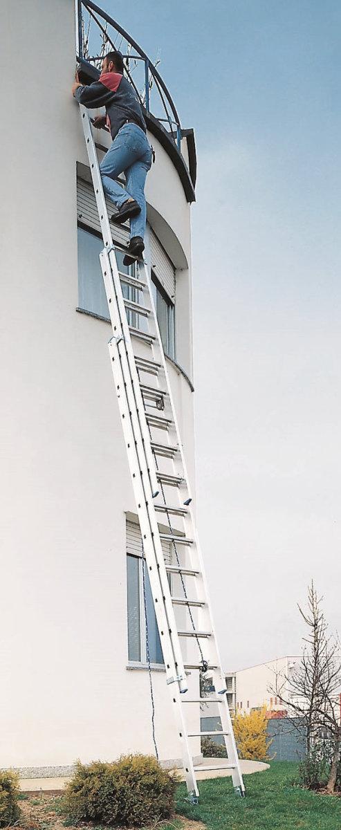 Hejsestige 3-delt med snoretræk - Højde 8,97 m